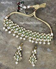 New USA Indian Pakistani Ethnic Bollywood CZ Gold Plated Choker Kundan Necklace