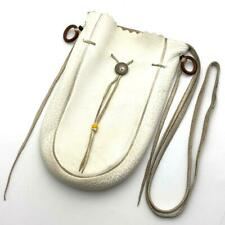 goro's White Purse Drawstring bag size L deerskin leather from Japan F/S