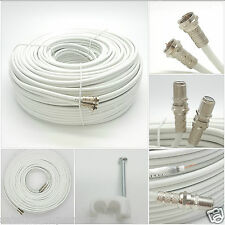 50M Twin White Coaxial Digital SKY + HD TV Aerial Cable F Fly Lead Extension