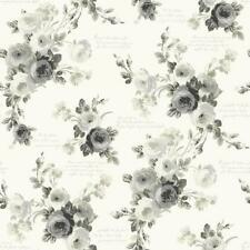 Black and White Heirloom County Rose Toile Wallpaper