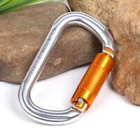 Aluminum Rock Climbing Mountaineering D-Shaped Twist Locking Carabiner Clip 25KN