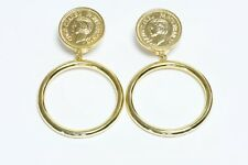 Vintage CHANEL Paris 1980's Gold Plated Coco Mademoiselle Coin Hoop Earrings