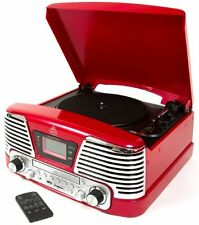 Retro Turntable 4-in-1 Music CD FM Radio Vinyl Palyer MP3 REmote LCD Gift RED