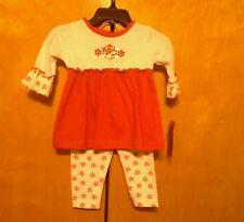 2 pc Ellemenno baby girls 6 months dress & leggings snowflakes Christmas outfit