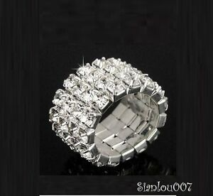 Silver Tone Clear Crystal Diamonte / Diamante 4 Row Stretchy Ring - BRAND NEW!!
