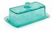 Pioneer Woman Adeline Glass Butter Dish - Teal. (FAST FREE SHIPPING)