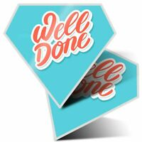 2 x Diamond Stickers 10 cm  - Well Done Congratulations  #14704