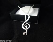 Extra Large  6.2cm Silver Treble Clef Music Note Statement Necklace Chain 70cm