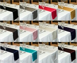 WEDDING SATIN TABLE RUNNER 280cm LONG x 23cm WIDE 30+ COLOURS WEDDING PARTY UK