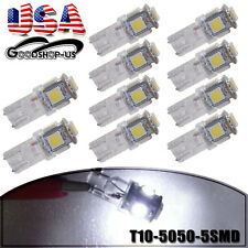 10X HID White T10 Clear Wedge 5050 5SMD Car Dome Map LED Light Bulbs W5W 194