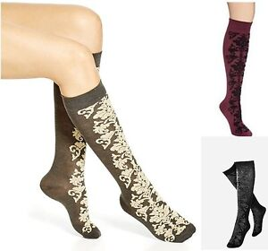 Hue Women's Knee Hi Socks Bootique Fuzzy Brocade Tall and Skinny Socks