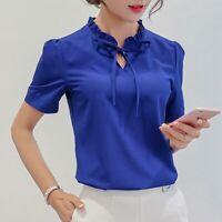 Loose Top Summer Chiffon Women Ladies Short Sleeve Shirt Blouse Fashion T-Shirt