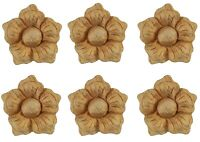 Wood Rosette Furniture Onlay Appliques - Set of Six Small Carved Flowers - PX426
