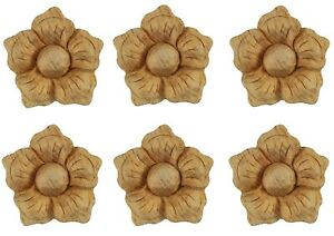 Wood Rosette Furniture Onlay Appliques - Set of Six Small Carved Flowers, PGX426