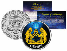 GEMINI Horoscope Astrology Zodiac JFK Kennedy US Colorized Half Dollar Coin