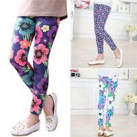 2-14Y Baby Kids Girls Leggings Pants Flower Floral Printed Elastic Long Trousers
