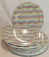 Summit Stripes Rainbow Waves Dinner Melamine Plate 22 cm Set of 4, 6, 8, 12