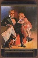 Playing Cards 1 Single Card Old GAS Advertising Art Terrier Dog FATHER DAUGHTER