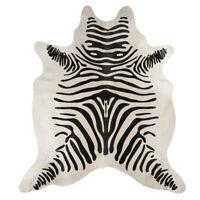 Super Size Extra Large Zebra Print Genuine Cow Hide Rug Pelt White Black
