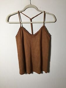 Zara Womens Tan Brown Suede Fitted Cami Tank Top Size S Sleeveless Good Condt