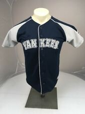 Vintage Adidas 80s 90s MLB New York Yankees Button up sewn SS blue jersey 14/16