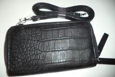Buxton Women's Fat Croco Double Zip Organizer Wallet on A String,Black