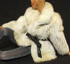 Azul Fuchs zorro cazadora vintage zorro abrigo Blue Fox fur Jacket Pelz chaqueta M