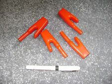 4 red plastic covers for alligator clamps fully encloses rear of clamp with cabl