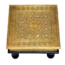 Brass Ftd Bajot Chowki Chaurang Patli Pooja Table Small Stool for Daily Prayers