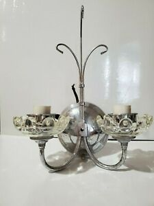 1920s 1940s VINTAGE Chrome Glass Wall Sconce Light Fixture Union Made