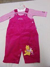 New Vintage Disney Winnie the Pooh Pink Girls Baby Childs Bib Overalls 6/9 Mo