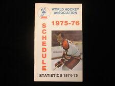 1975-76 World Hockey Association (WHA) Schedule