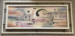 Vintage 50s Atomic Fish Mobile Painting Renaud Mid Century Modern Wall Hanging