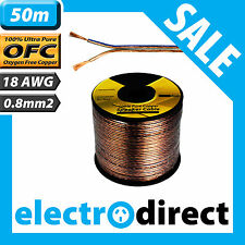 50m 18AWG (0.8mm2) Speaker Cable Reel 100% Pure Copper OFC - 18 Guage Wire Roll