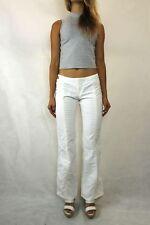 JUST CAVALLI Ivory White Metallic Thread Wide Leg Jeans Size
