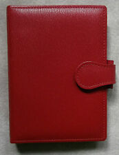 NEW GREENWICH LEATHER RED POCKET SIZE FILE ORGANISER WALLET 15mm DIAMETER