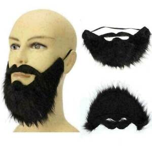 Halloween Fancy Dress Fake Beard Moustache Costume Facial Hair Party DIY Cosplay