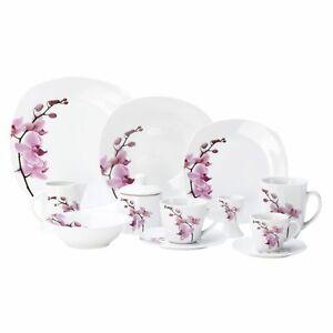 Kombiservice 62-tlg. Kyoto Orchidee eckig Porzellan 6 Personen weiß Geschirr