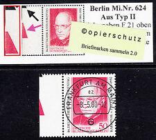 32) Berlin MiNr. 624 ** vom Feld 21 aus Typ II mit zwei Farbkeilen den SKM geste