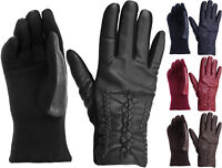 Womens Chick Cotton Leather Front Plaited Winter Gloves