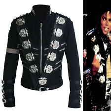 BEST MJ MICHAEL JACKSON BAD TOUR PUNK CLASSIC BADGES BLACK JACKET OUTERWEAR