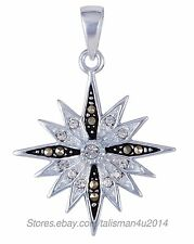 Sterling Silver Bethlehem Star Cross Pendant Necklace Black White CZ Certificate
