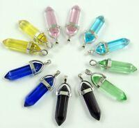 10PC Wholesale Titanium Crystal Hexagonal Point Pendant Gem  Jewelry Necklace B3