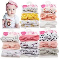 Hair Band  Newborn Headband Baby Print Floral Cotton Girls Bow-knot 3 Pcs