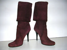 COSTUME NATIONAL BROWN SUEDE KNEE HIGH ROLL DOWN HIGH HEEL BOOTS SIZE 7