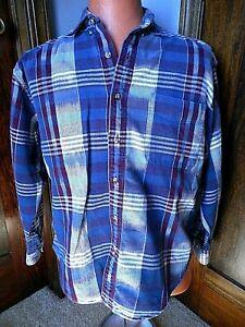 Grunge Flannel Shirt Purple Blue Plaid 1990's ? St Johns Bay Cotton Large Mens