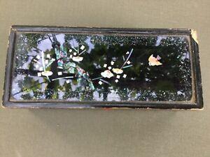 Rare Antique Japanese Lacquer Kozuka Mother of Pearl Inlay Chidori Urushi Nuri