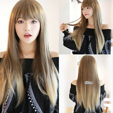68cm Vogue Long Blonde Mixed Straight Women's Hair Wig Wigs Golden