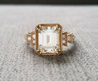 Art Deco 3.5Ct Emerald Cut Diamond Blue sapphire Vintage Antique Ring 925 Silver