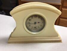 """Vintage Vanity Dresser Celluloid Clock Desk Mantle Art Deco Works 6""""x4"""""""